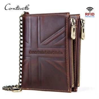 CONTACT'S crazy horse genuine leather men wallets vintage double zip male wallet coin purse men short walet portmonee man cuzdan
