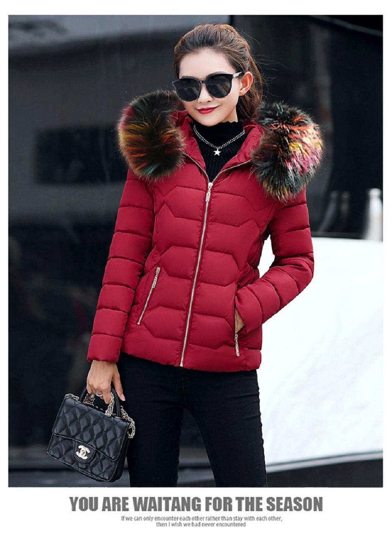women winter hooded warm coat cotton padded jacket female long parka pink color