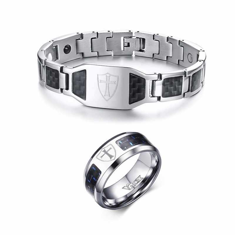Мужской Магнитный Браслет из углеродного волокна и кольцо из нержавеющей стали, ювелирный набор с гравировкой, крест тамплиеров, щит, ювелирный набор