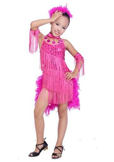 DB23553 fringe feather sequin latin dance dress-13