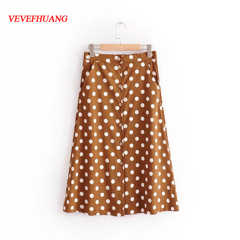 Summer England Style Brown Clasp Wave Point Print Fluttering Knee-Length Elegant Spring Autumn Feminine Femme Blusas Vestidos