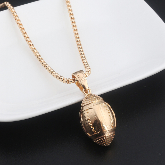 Sports rugby ball pendant necklace american sports rugby ball pendant necklace american footballbicyclebasketballbadminton fitness jewelry long aloadofball Image collections