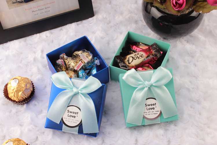 50pcs European blue box creative aesthetic personality wedding box wedding candy boxes Tiffany blue box