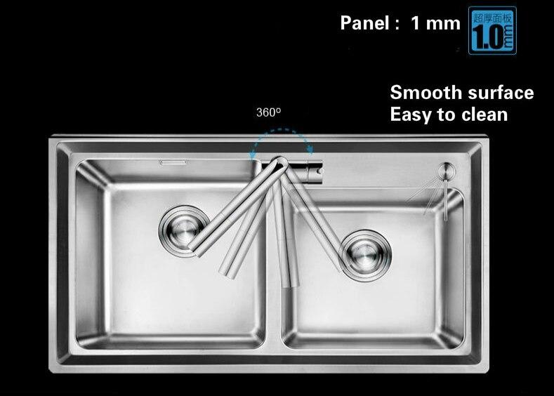 Livraison gratuite Standard individualité grande cuisine double rainure évier en acier inoxydable entier dessin vente chaude 81x45 CM - 6