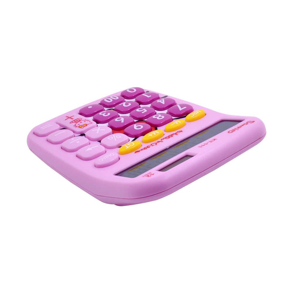 54abd3057 ... Cute Hello Kitty Doraemon Desktop Solar Dual Power Pink Calculator 12  Digital Solar Kawaii Calculator for ...