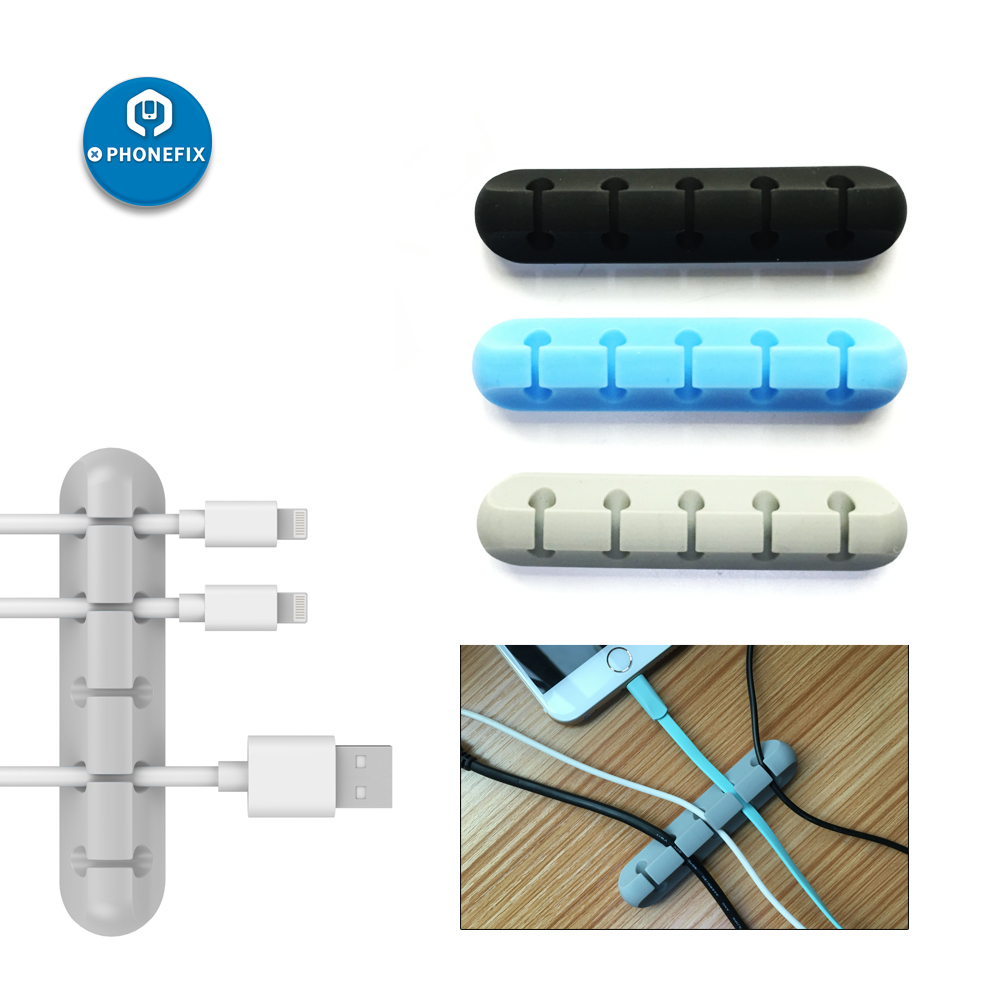 PHONEFIX Cable Organizer Silicone USB Cable Winder Flexible Cable Management Clips Cable Holder For Mouse Headphone Earphone