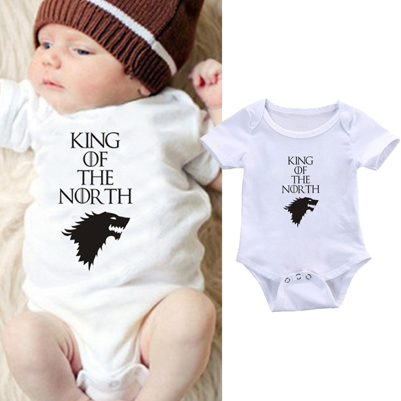 DERMSPE Infant Baby Boys Girls Short Sleeve Cute Printed Letters King Of The North Romper Jumpsuit Clothes Outfits White