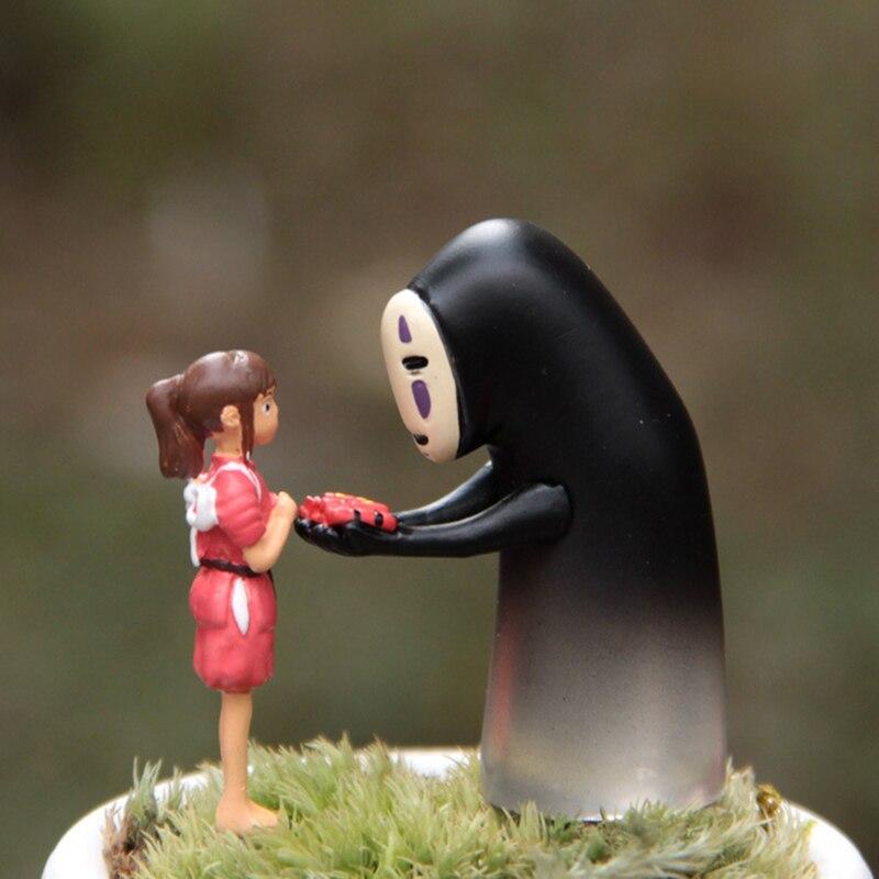2 pçs miyazaki hayao espírito afastado menina sem rosto homem figuras de ação brinquedo ghibli anime japonês dos desenhos animados micro paisagem kawai presentes