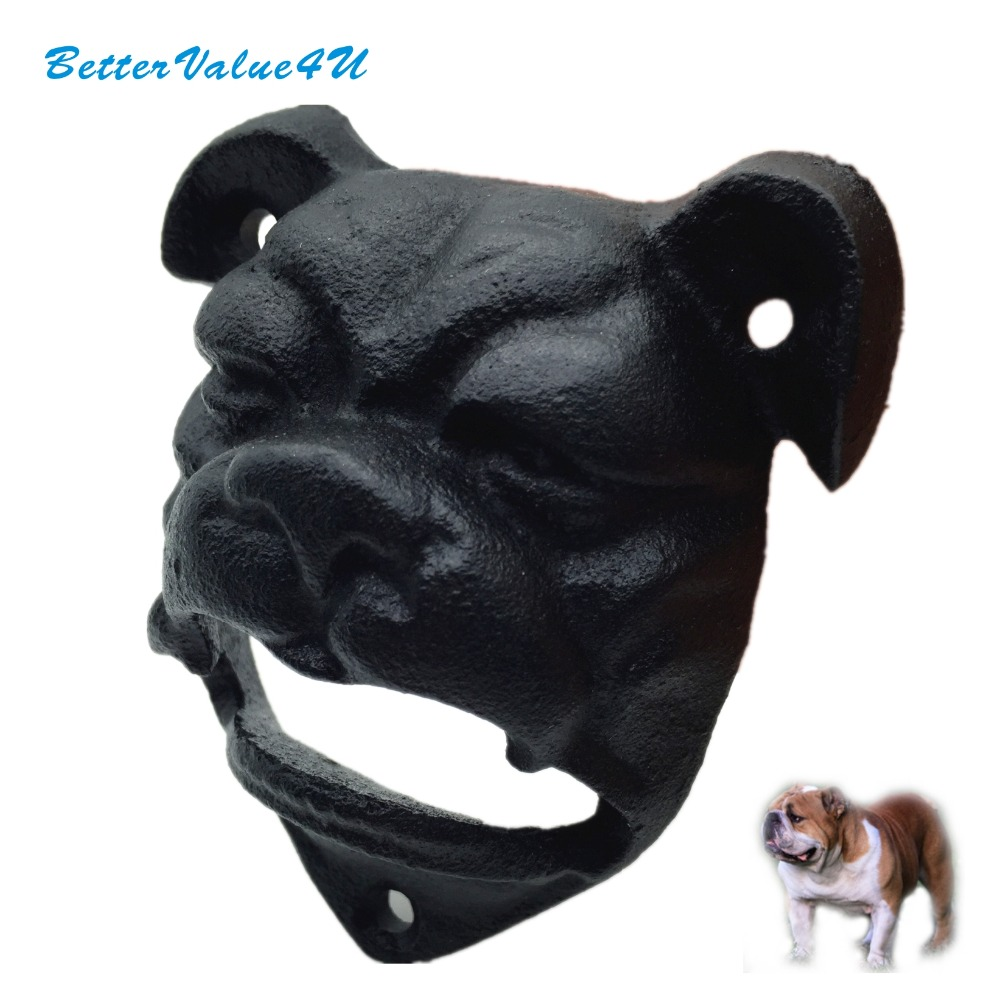 Bettervalue4u Heavy Bulldog Shaped Wall Mount Bottle Opener Black Mounting Screws Included 1pc Free Shipping