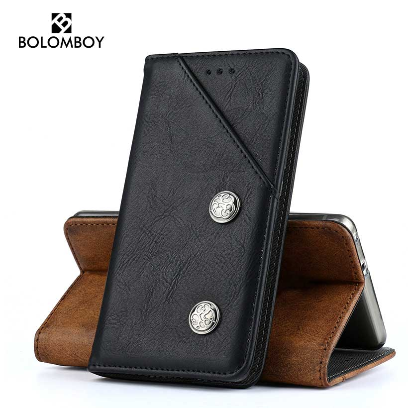Bolomboy Case For Alcatel Pixi 4 Plus Power Case Leather Flip Magnetic Cover For 5023 5023E Cover Card Holder Kickstand