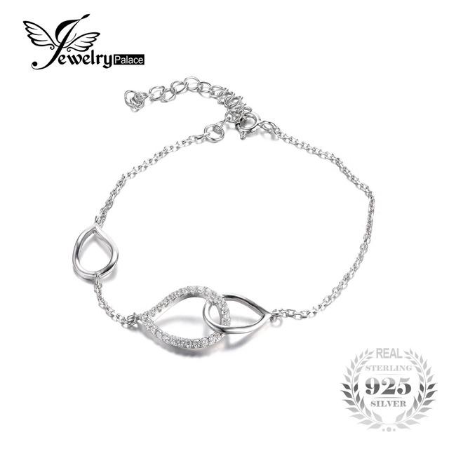 Jewelrypalace 925 sterling silver cubic zirconia teardrop declaração ligação id pulseira 8.58 polegada fine jewelry mulheres pulseira