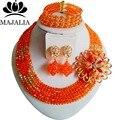 2017 Мода африканские бусы комплект ювелирных изделий orange Нигерии Свадебные Кристалл ожерелье, Свадебные Украшения, наборы Бесплатная доставка ВВ-025