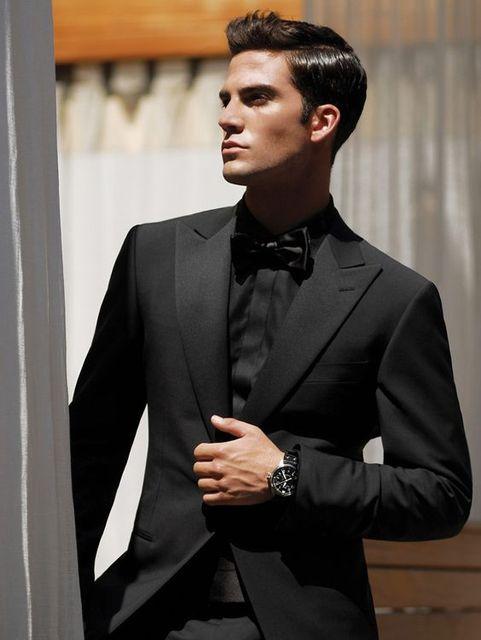 Custom Made Noir Italien Style Homme Costume 2 Pièces Hommes de mariage De  Bal Dîner Costumes 332474503d6