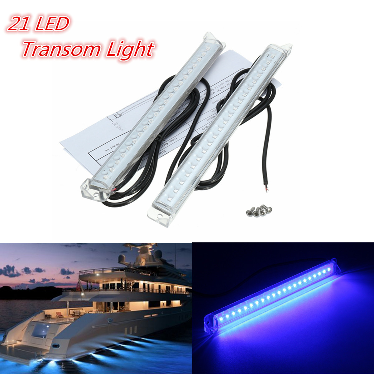Boat Parts & Accessories 2x 12v 21led Marine Yacht Boat Led Underwater Light Fishing Boat Marine Kit Trim Tab Light Kit Transom Stern Bar Blue Waterproof High Safety Marine Hardware