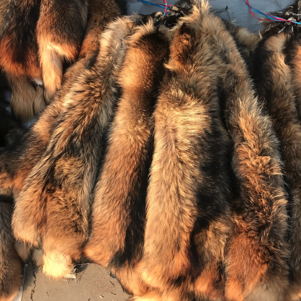 Natural Raccoon fur skins/ real Raccoon raccoon fur hide pelts/ high quality Chinese raccoon fur for hood