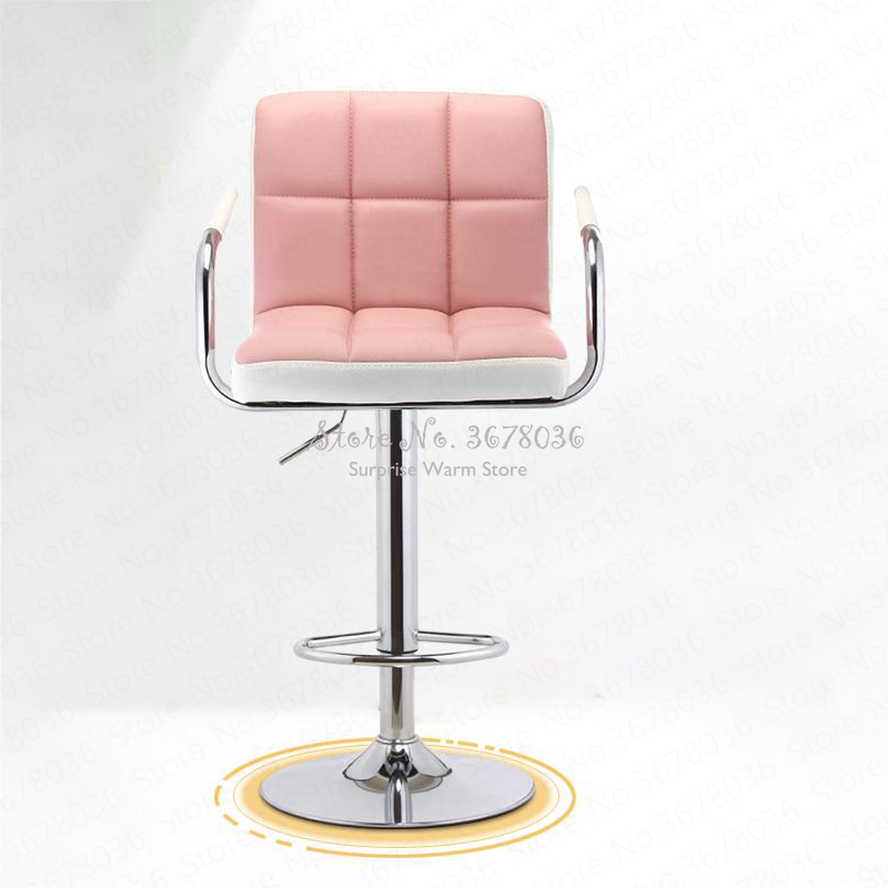 1 Rotary Bar Stools Modern Lifting Bar Chair High Bar Stool With L Armrest High Back Stool Front Desk Chair With Sponge Seat