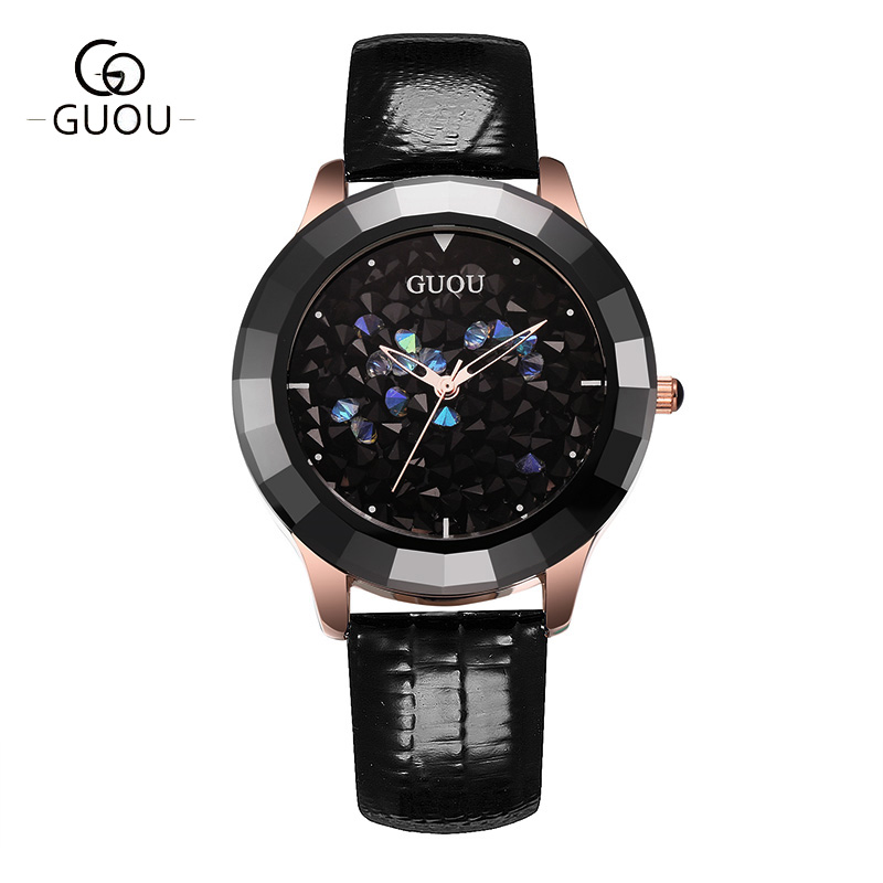 GUOU Ladies Watch Fashion Color Stone Glitter Women Watches Luxury Genuine Leather Diamond Watch reloj mujer