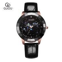 GUOU Ladies Watch Fashion Color Stone Glitter Women Watches Luxury Genuine Leather Diamond Watch reloj mujer relogio feminino