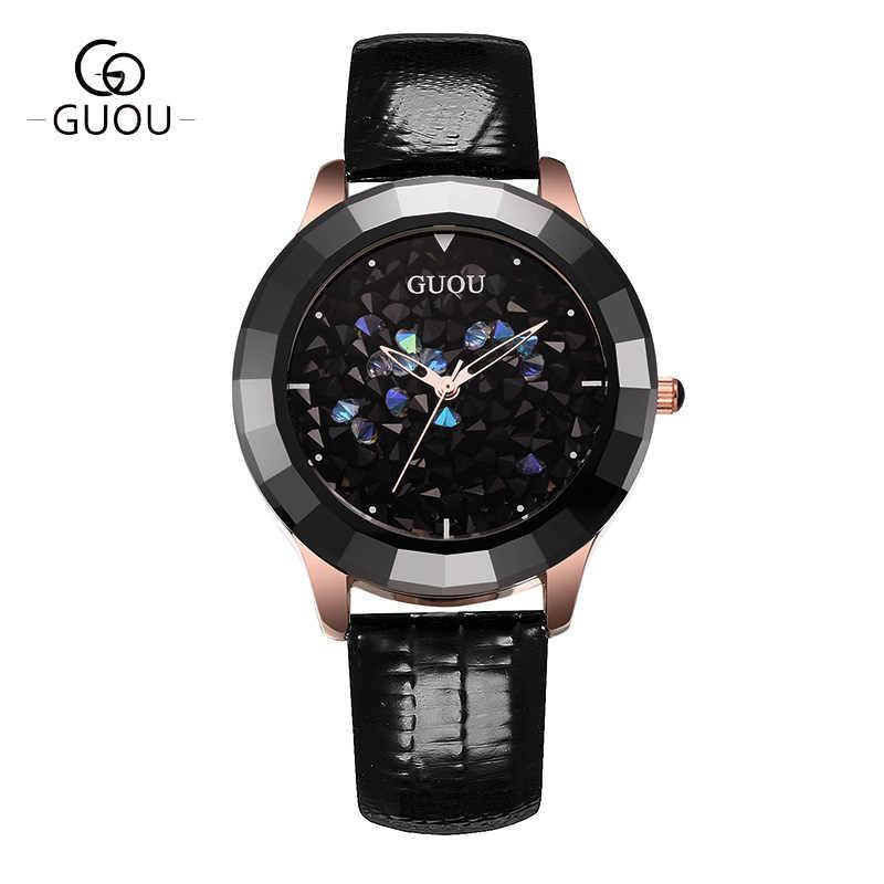 GUOU zegarek damski moda kolor kamienia brokat kobiety zegarki luksusowy prawdziwy zegarek ze skórzanym paskiem diamentowy reloj mujer relogio feminino