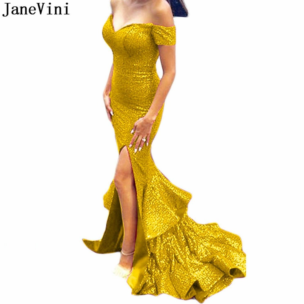 JaneVini Sparkle Sequined Gold Dubai Long Evening Dresses V Neck Backless Mermaid Ruffles Arabic Sexy Plus Size Gown Gala Jurken