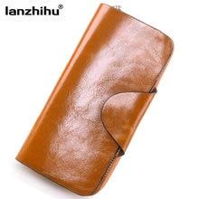 Unisex 2016 Vintage Oil Wax Cowhide font b Wallet b font Large Genuine Leather font b
