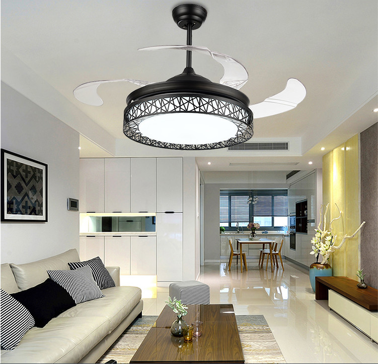 Modern Zinc Alloy Net Round Shaped LED Ceiling Fan Lights with Foldable Invisible Blades ...