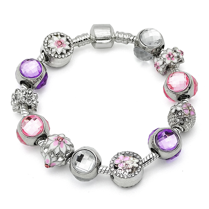 2017 Spring New Arival Pink Magnolia Bloom Beads Silver Charm Bracelets Fit European Women Pan Bracelets & Bangles
