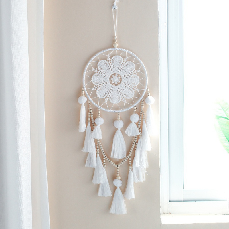 Wind Chime Ladies Necklace Feathers Beads Tassel Hollow Out Flower Boho one