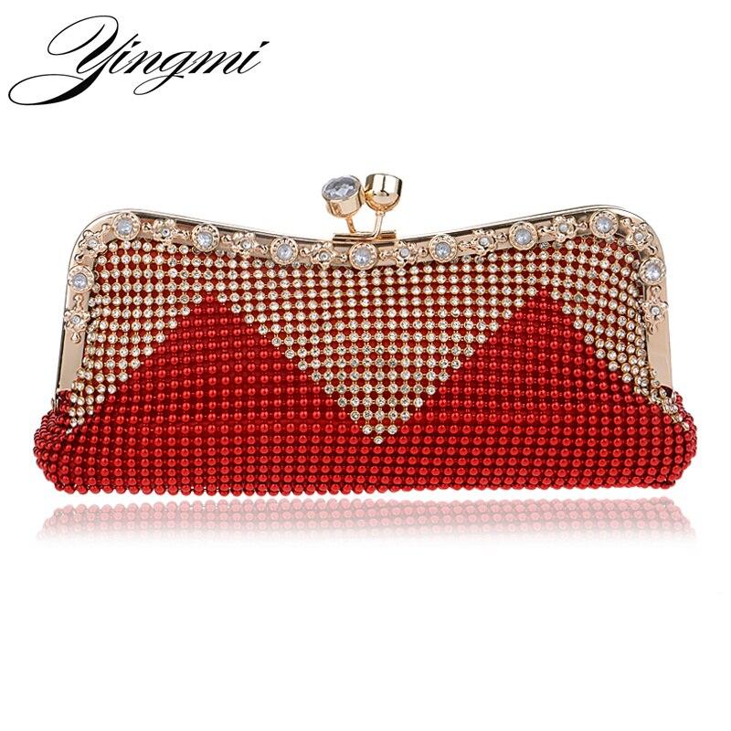 Women Clutch Bags Beaded Evening Bags Pearl Diamonds Golden Handbags Wedding Bridesmaids Bridal ...