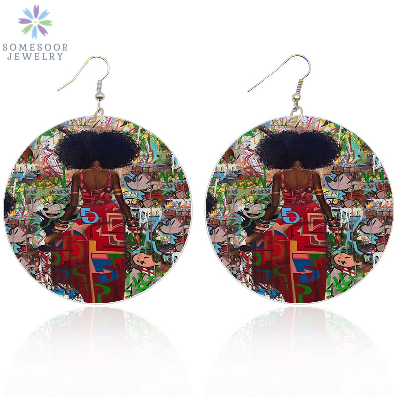 SOMESOOR Printed Urban Mannerisms African Wooden Drop Earrings AFRO Natural Hair Woman Graffiti Both Sides Painting Jewelry Gift