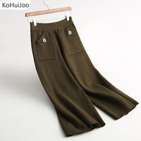 Autumn Winter Women Knitted Pants Ankle Length Loose Button Pockets Elastic Waist Stretch Wool Knitted Wide