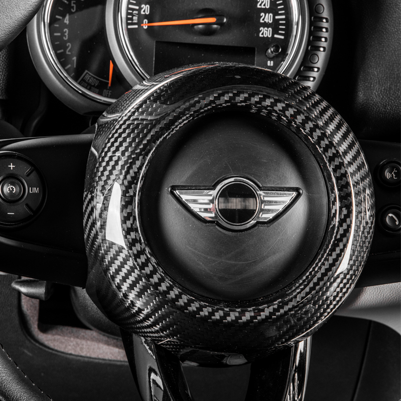 <font><b>carbon</b></font> fiber Modification Accessories Steering wheel center decoration car styling For <font><b>MINI</b></font> COOPER Clubman S F54 F55 <font><b>F56</b></font> F57 F60 image