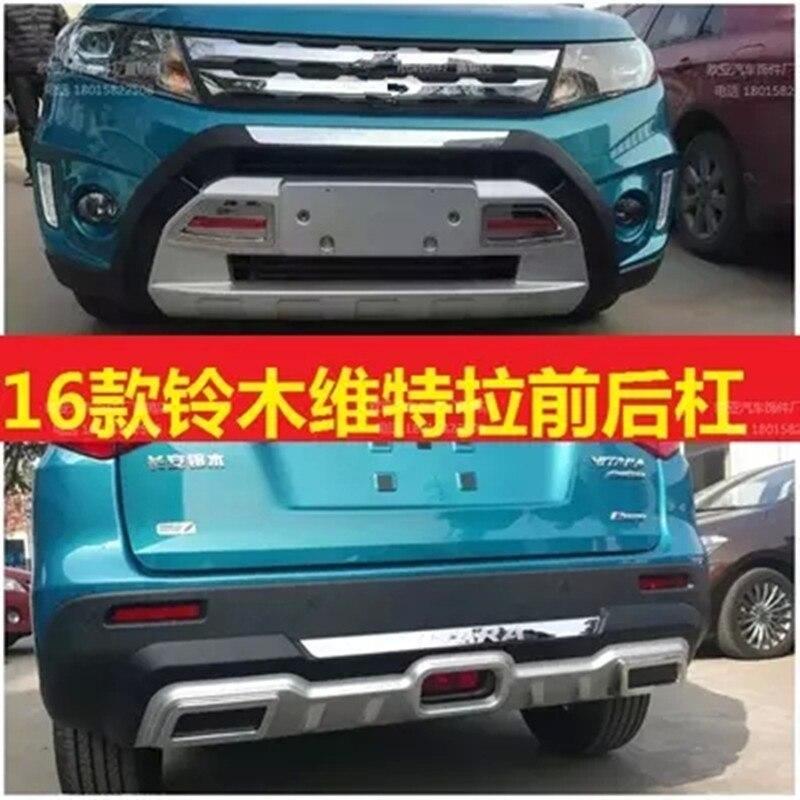 Высокое качество пластика ABS Chrome спереди + задний бампер крышка отделка Автомобиль Стайлинг для 2015 2016 2017 Suzuki Vitara автомобиль стиль