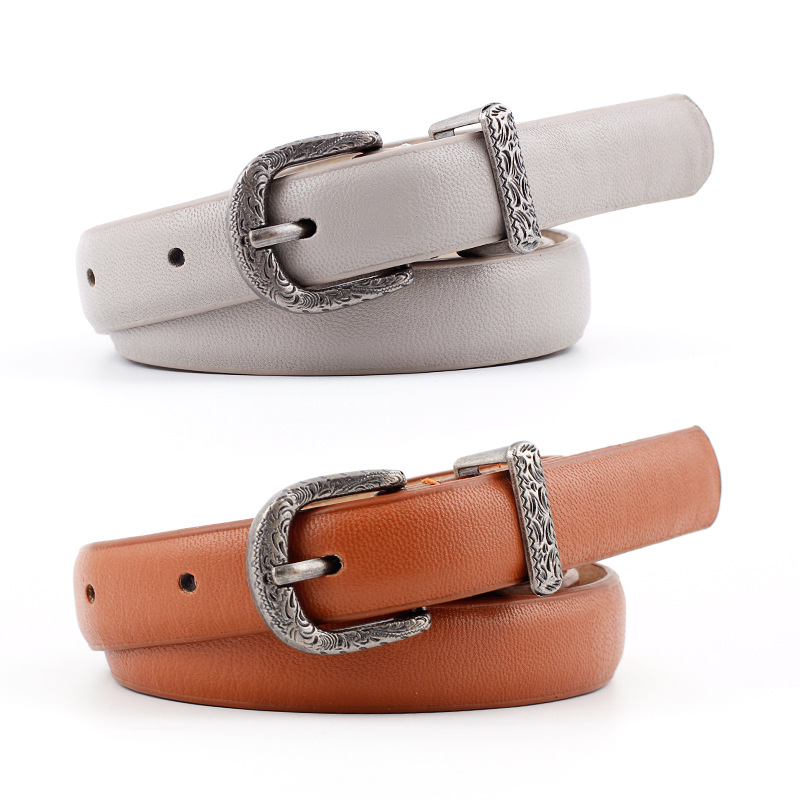 2019 New Designer Ladies Boho Vintage   Belt   Buckle   Belt   Woman Thin Narrow Black White Red Brown Leather   Belts   for Women Jeans