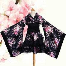 Halloween kobiety przebranie na karnawał elegancki Sakura garnitur drukuj kwiat suknia damska suknia styl japoński Vintage Lady gejsza Kimono