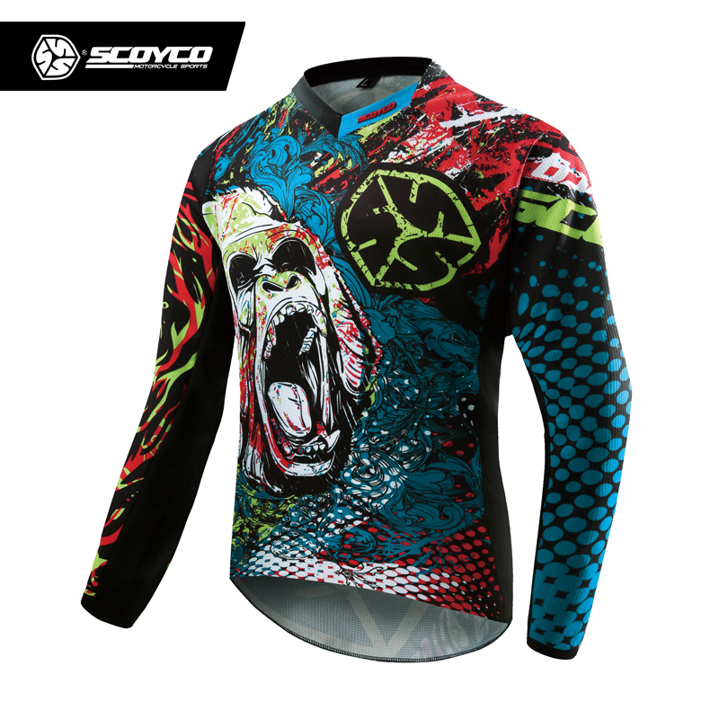 SCOYCO Professional Motorcycle Dirt Bike MTB DH MX Long Sleeve T-Shirt Tops Breathable Motocross Off-Road Racing Jersey Clothing