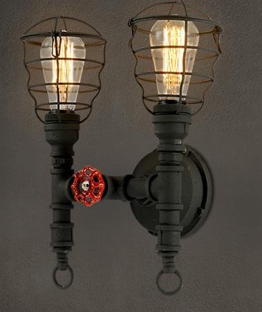ФОТО Industrial Vintage Pipe Wall Lamp American LOFT Balcony Restaurant Bar Wrought Iron Wall Lamp
