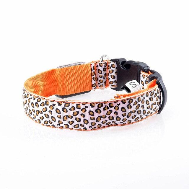 Adjustable LED Light Glow Pet Collar Leopard Nylon Pet Dog Cat Night Safety Luminous Flashing Necklace Glowing Neck Belt XWBE. 19