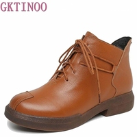 New Women Genuine Leather Boots Vintage Style Flat Booties Soft Cowhide Women S Shoes Side Zip