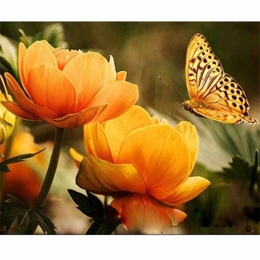 DIY Digital Painting By Numbers Package Yellow butterfly oil painting mural Kits Coloring Wall Art Picture Gift frameless
