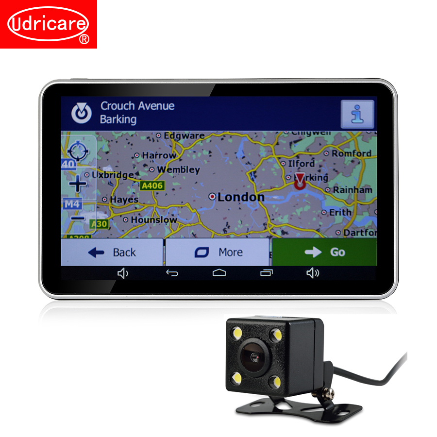 Udricare 7 inch GPS Android WiFi Bluetooth GPS Navigation DVR 16GB Quad-core Dual Lens Rear View Back Camera DVR Video Recorder udricare 7 inch 3g wifi mirror gps android 5 0 dvr fhd 1080p bluetooth phone dual lens video recorder rear view camera mirror