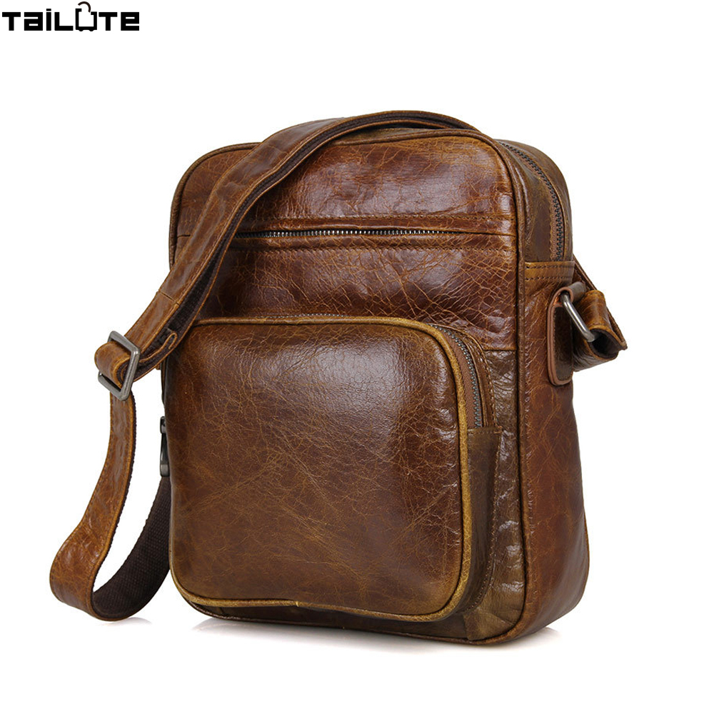 TAILUTE 100% Genuine Leather Men Bags Hot Sale Male Small Messenger Bag Man Fashion Crossbody Shoulder Bag Men's Travel New Bags hot 2017 genuine leather bags men high quality messenger bags male small travel brown crossbody shoulder bag for men li 1996