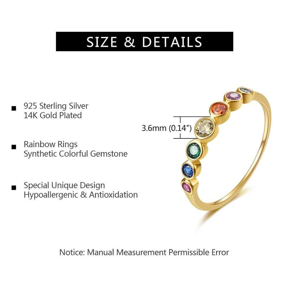 E Bạc 925 Cầu Vồng Đá Quý Nhẫn Mạ Vàng 14K Trang Sức Nhẫn Màu Đá Cubic Zirconia Nữ Cưới, Nhẫn