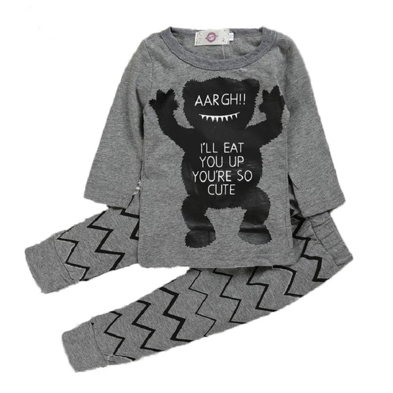 2 PCS Summer Monster Baby Boy Clothes Infant Baby Boy Clothes Cotton Grey Dog Baby Clothes Short Long Sleeve Baby kleding V20
