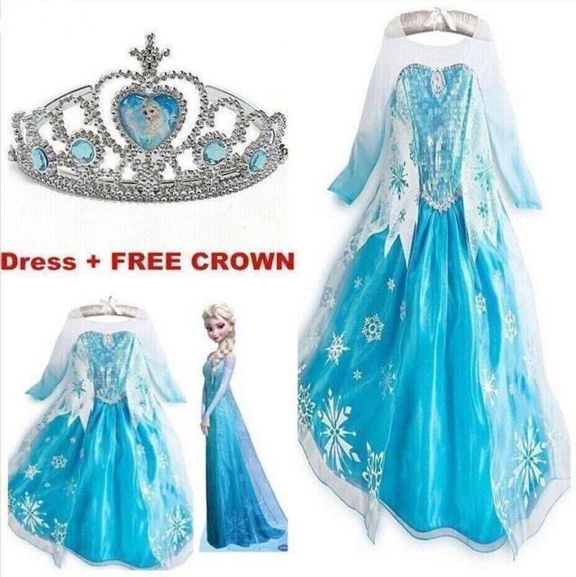 2016 nuevos niños niñas ropa, Anna Elsa vestido de la muchacha, bebé Elsa Costume Kids Summer princesa Vestidos Infantis Crown Set Vestidos