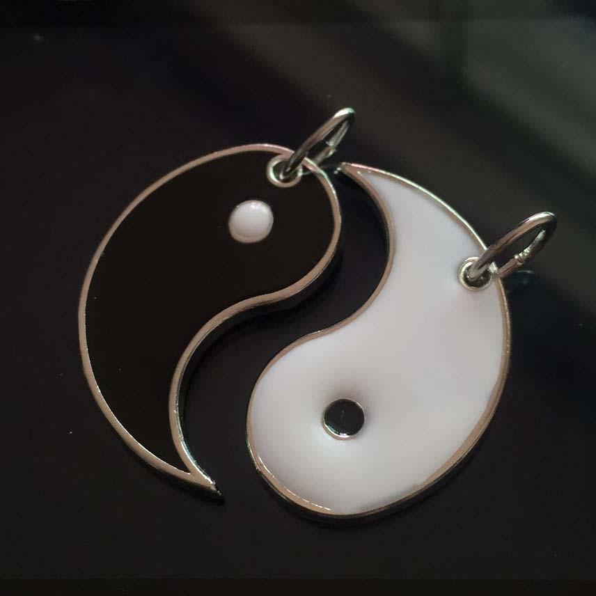 Legering Emalje TaiChi Yin Yang Par Charms For Halskjede Nøkkelring Smykkebehandling