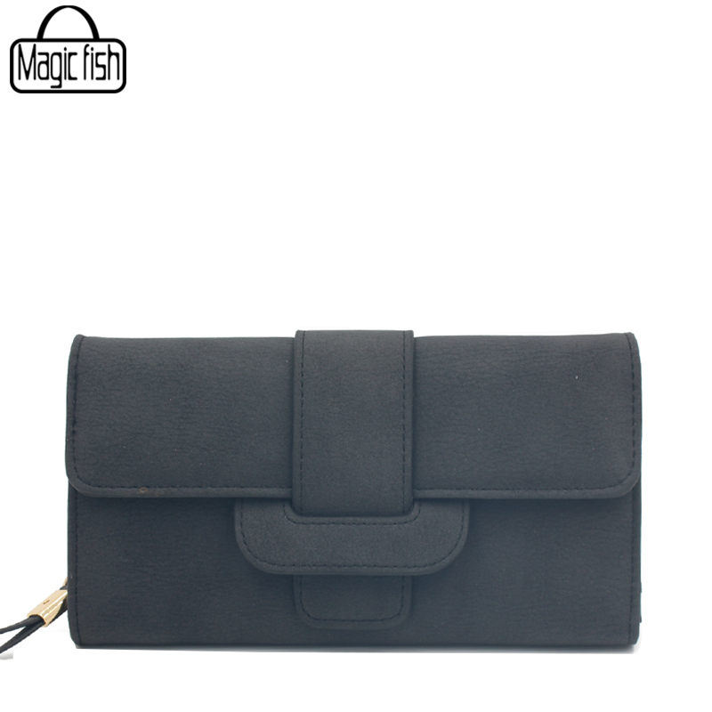 Fashion Long Style Matte Leather Simple Womens