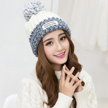 2017 Fashion Korea Winter Cap Wool Hats Women Thickening Keep Warm Ball Knitting Hat Autumn gift children knitting wool hat cute keep warm rabbit beanie cap autumn and winter hat with earflaps whcn