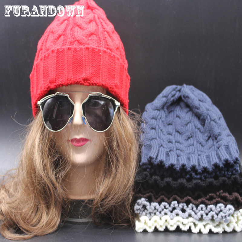 2016 Skullies & Beanies Women's Winter Knitted Hats Warm Wool Slouch Beanie Cap For Girls Free Shipping skullies