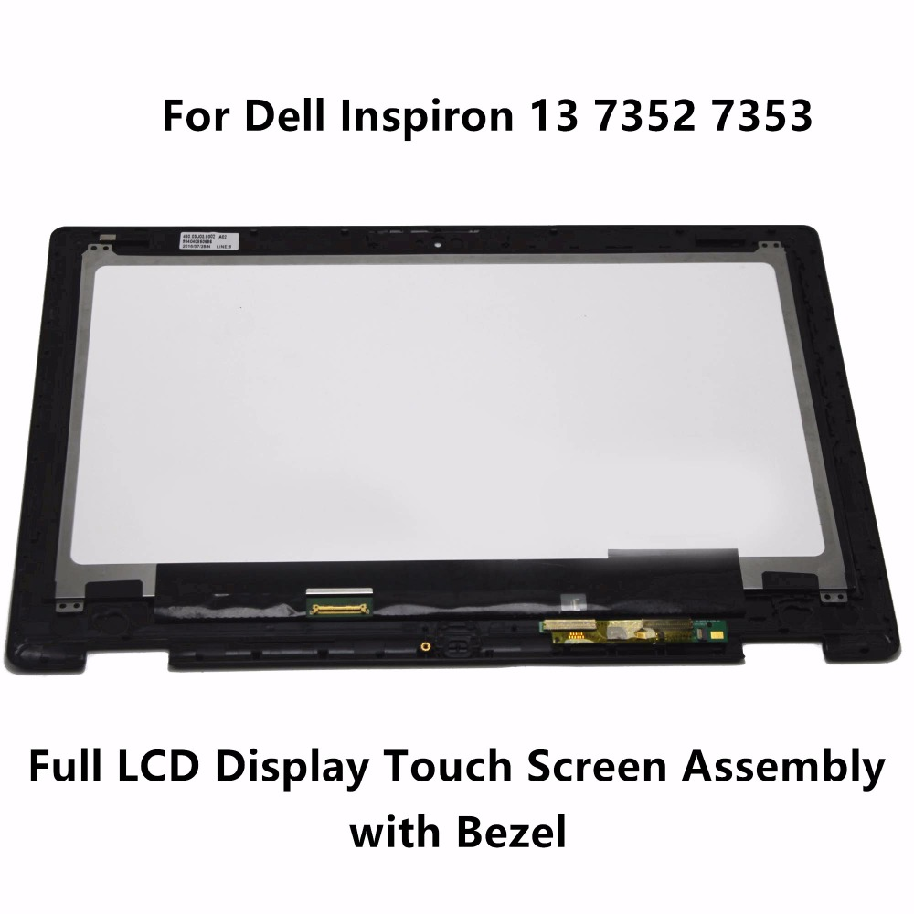 New Laptop Full LCD Display Touch Glass Screen Panel Digitizer Assembly + Frame For Dell Inspiron 13 7352 7353 LTN133HL06-201 brand new i9505 lcd screen display for samsung galaxy s4 i9500 i9505 i337 i545 lcd with touch digitizer glass panel frame
